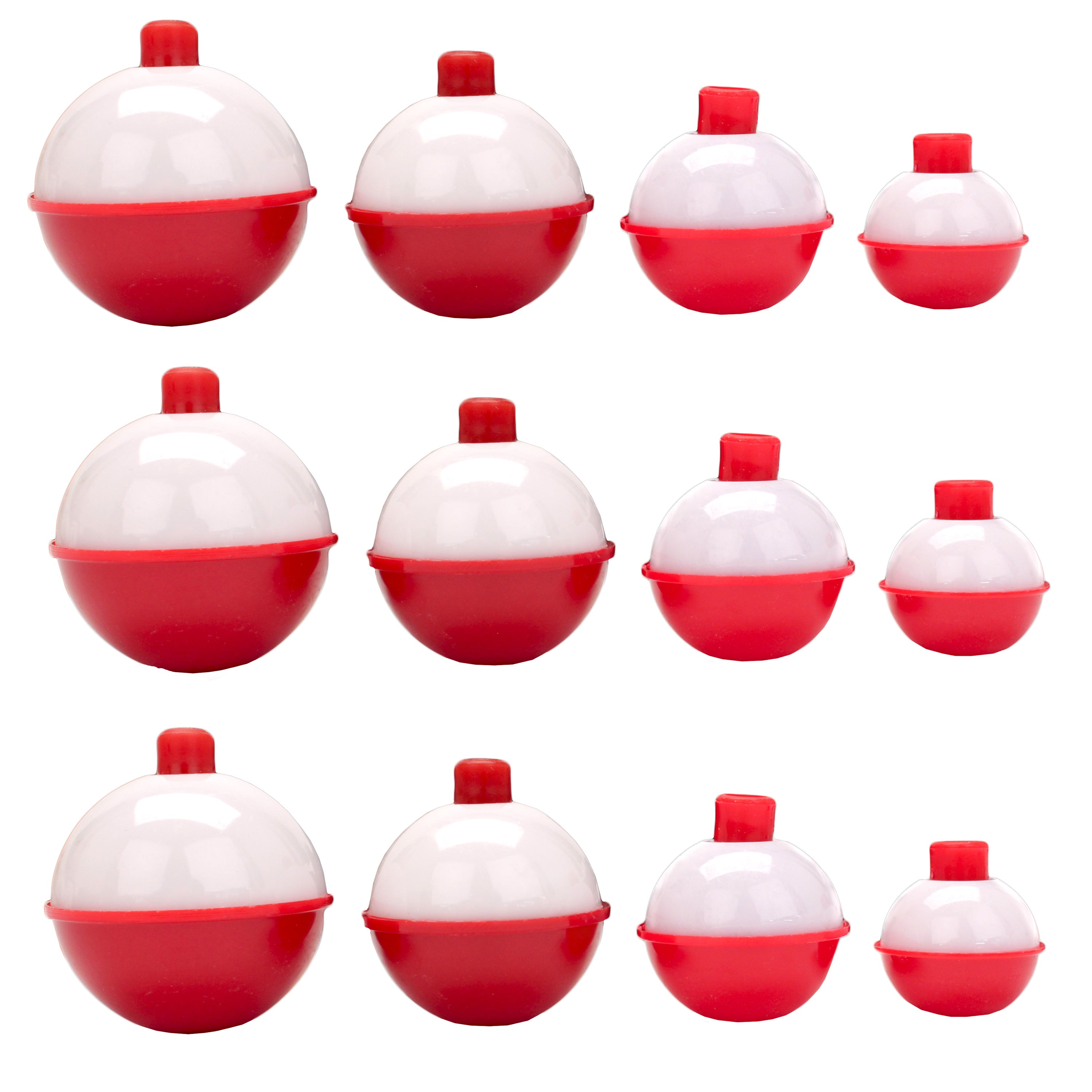 12 NEW  ASSORTED EAGLE CLAW RED WHITE SNAP ON BOBBERS  FLOATS ROUND PLASTIC
