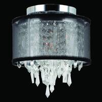 Metro Candelabra 1-light Chrome Finish and Faceted Crystal 8-inch Round Flush Mount Ceiling Light with Black Organza Shade