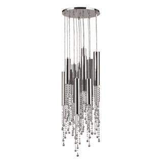 Crystal Rain 15-light LED Chrome Finish Tube and Faceted Crystal Strands Flush Mount Ceiling Light