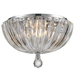 Contemporary 3 Light Chrome Finish Ribbed Crystal Bowl Flush Mount Ceiling Light