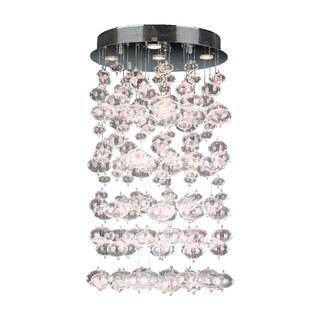 Modern 7 Light Chrome Finish and Floating Effervescence Bubble Blown Glass Flush Mount Ceiling Light
