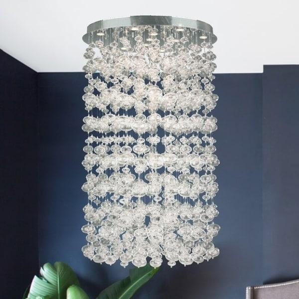 Floating Bubbles 13-light Chrome Finish and Floating Effervescence Bubble Blown Glass Extra Large Flush Mount Ceiling Light