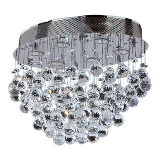 """Modern 6 light Chrome Finish with Faceted Crystal Ball Prism Flush Mount Ceiling Light 20"""""""