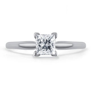 Divina 14k Gold 3/4ct TDW Princess-cut Diamond Solitaire Engagement Ring