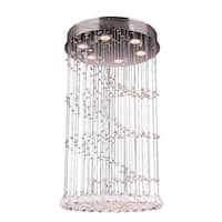 Crystal Rainfall 6-light Chrome Finish and Faceted Crystal Helix Spiral Flush Mount Ceiling Light