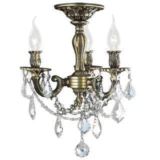 Traditional Elegance 3 Light Antique Bronze Finish with French Pendalogue Crystal Semi Flush Mount C