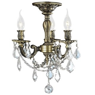 Traditional Elegance 3 Light Antique Bronze Finish with French Pendalogue Crystal Medium Semi Flush Mount C
