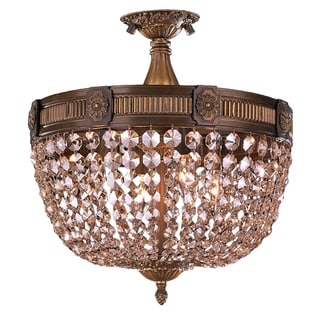 French Empire Basket Style Collection 4-light Antique Bronze Finish with Golden Teak Crystal 16-inch Basket Semi-flush Light
