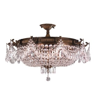 "Traditional Elegance 10 Light Antique Gold Finish with Clear Crystal 30"" Basket Semi Flush Mount Cei"
