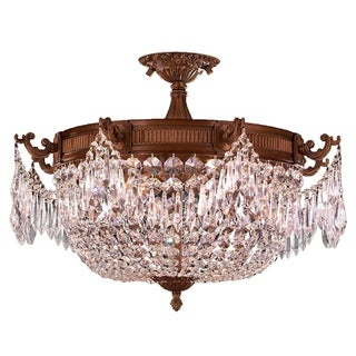"Traditional Elegance 3 Light Antique Gold Finish with Clear Crystal 20"" Basket Semi Flush Mount Ceil"