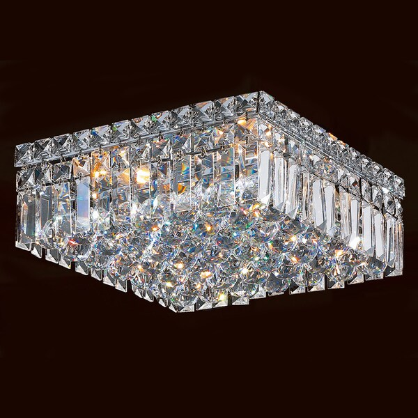 Elisa 4 Light Chrome And Crystal Flushmount Chandelier