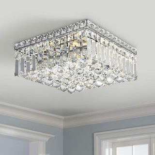 Glam Art Deco Style 4-light Polished Chrome Finish with Faceted Crystal Ball Prism 12-inch Square Flush Mount Ceiling Light