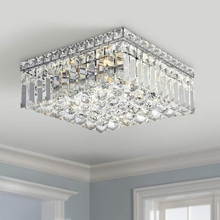 "Contemporary 4 light Polished Chrome Finish with Faceted Crystal Ball Prism 12"" Square Flush Mount Ceiling Light"
