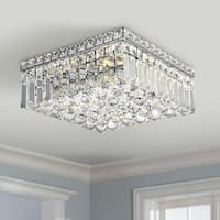 Glam Art Deco Style 4-light Polished Chrome Finish with Faceted Crystal Ball Prism 12-inch Square Flush Mount