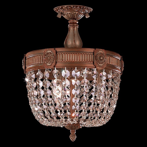 French Empire Basket Style Collection 3-light Antique Gold Finish with Clear Crystal 12-inch Basket Semi-flush Mount Light