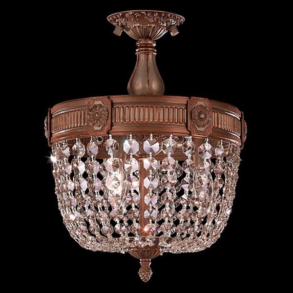 French Pendalogue Golden Teak Crystal Semi Flush Mount Ceiling Light