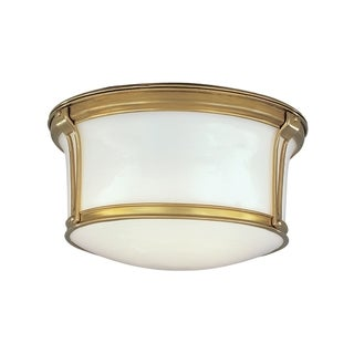 Hudson Valley Newport Flush 2-light Aged Brass Small Flush Mount