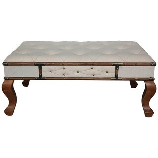 International Caravan Rustic Elegance Natural Rectangular Tufted Upholstered Bench