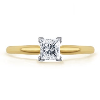 Divina 14k Gold 1/2ct TDW Princess-cut IGL-certified Diamond Solitaire Engagement Ring (H-I, I2-I3)