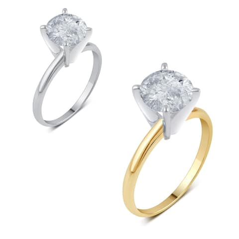 Divina 14k Gold 2ct TDW Round Diamond Solitaire Engagement Ring