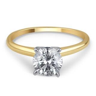 Divina 14k Gold 1 1/2ct TDW IGL-certified Round Diamond Solitaire Engagement Ring (H-I, I2-I3)