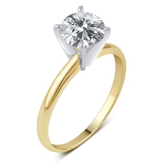 Divina 14k Gold 1 1/2ct TDW Round Diamond Solitaire Engagement Ring - White (More options available)
