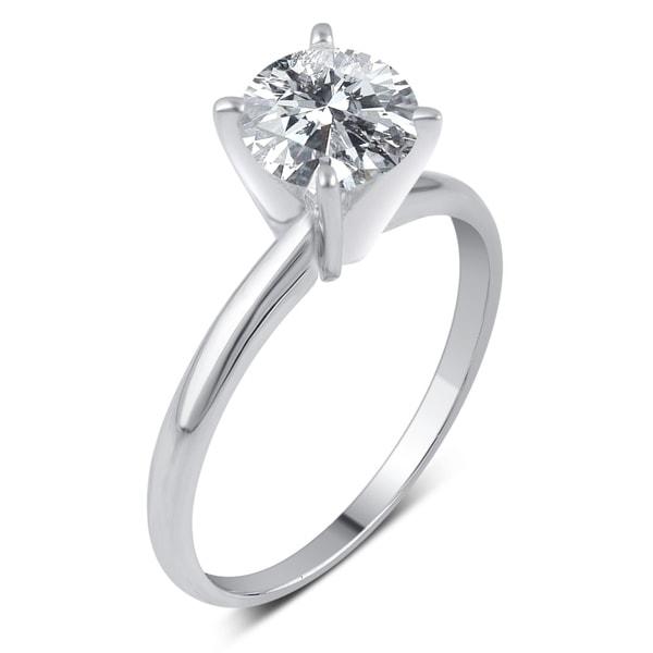 Divina 14k Gold 1 1/2ct TDW Round Diamond Solitaire Engagement Ring - White