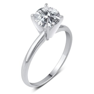 Divina 14k Gold 1 1/2ct TDW Round Diamond Solitaire Engagement Ring - White