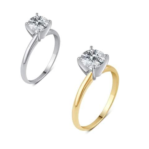 Divina 14k Gold 1ct TDW Round Diamond Solitaire Engagement Ring - White