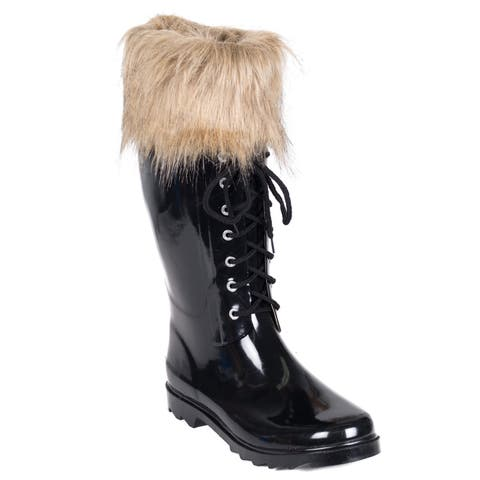 Women's Rubber Rain Boots Faux-Fur Mock-Sock with Laces