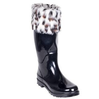 Women's Rubber Rain Boots - Faux-Fur Mock-Sock