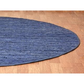 Blue Matador Leather Chindi (3'x3') Round Rug