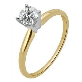 Divina 14k Gold 1/2ct TDW Round Diamond Solitaire Engagament Ring with IGL Certificate (H-I, I2-I3)