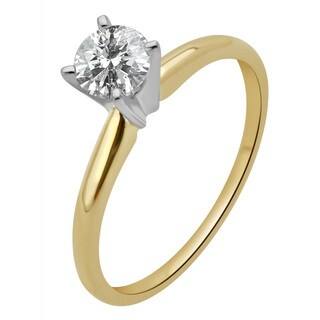 Divina 14k Gold 1/2ct TDW Round Diamond Solitaire Engagement Ring (More options available)