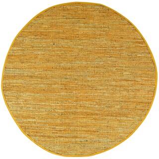 Gold Matador Leather Chindi (3'x3') Round Rug