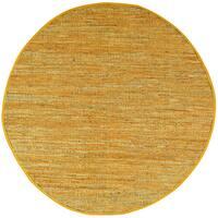 Gold Matador Leather Chindi Round Rug - 3'