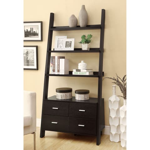 "Coaster Company Cappuccino 4-shelf 4-drawer Ladder Bookcase - 33.50"" x 16.75"" x 72"""