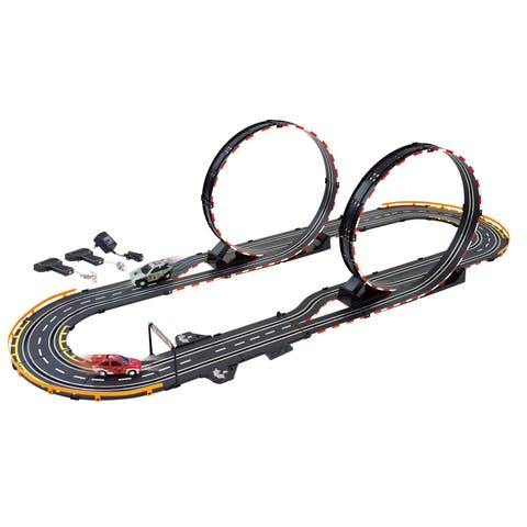 Golden Bright Parallel Looping Electric Power Road Racing Set - Black