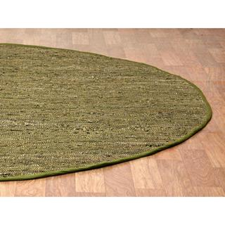 Green Matador Leather Chindi (3'x3') Round Rug