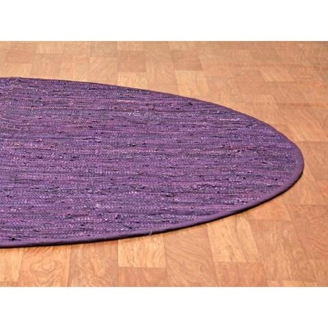 Purple Matador Leather Chindi (3'x3') Round Rug - 3' x 3'