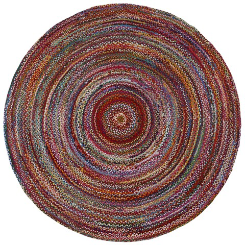 Brilliant Ribbon Multi Colored Round Rug - 3'x3'