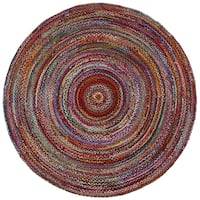 Brilliant Ribbon Multi Colored (3'x3') Round Rug - 3' x 3'