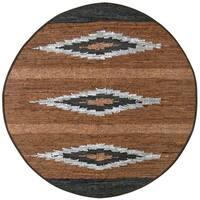 Brown Matador Diamonds Leather Chindi (3'x3') Round Rug - 3' x 3'