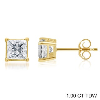 Divina 14k Gold 1/4 to 1 1/2ct TDW Princess-cut Certified Diamond Solitaire Stud Earrings (H-I, I2-I3)