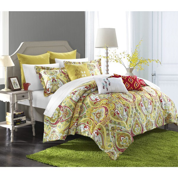 Chic Home Paisley Global Inspired 12-piece Bombay Reversible Bed in a Bag Comforter and Sheet Set
