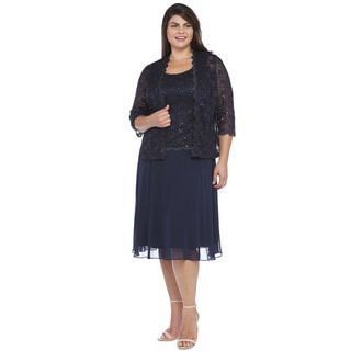 R&M Richards Plus Size Lace Jacket Dress