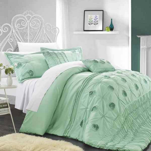 Chic Home Florian Floral Pleated 9-piece Comforter and Sheet Set