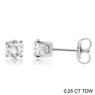 Divina 14k Gold 1/4 to 1 1/2ct TDW Round Diamond Solitaire Stud Earrings (More options available)