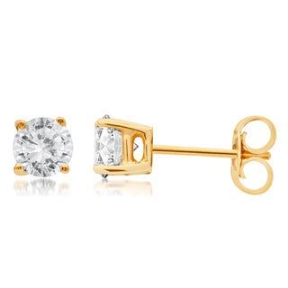 Divina 14k Gold 1/4 to 1 1/2ct TDW Round Diamond Solitaire Stud Earrings