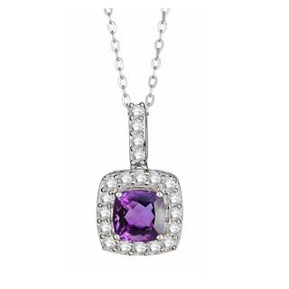 Divina Sterling Silver 2 1/3ct Gemstone and White Sapphire Halo Pendant